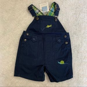 Janie and Jack cricket/snail short overall NWT